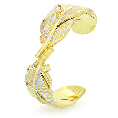 Feather Bangle Gold - White | FEATHER