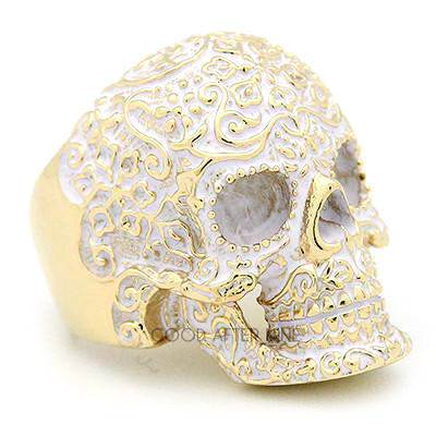 Filigree Skull Gold White Ring | FILIGREE SKULL