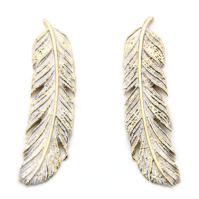 Feather Earrings Gold-White | FEATHER