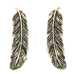 Feather Earrings Gold-Black | FEATHER