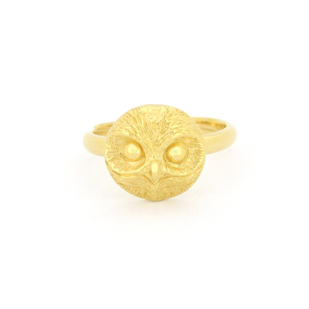 Happy Spotted Owl Ring 925 Sterling Silver