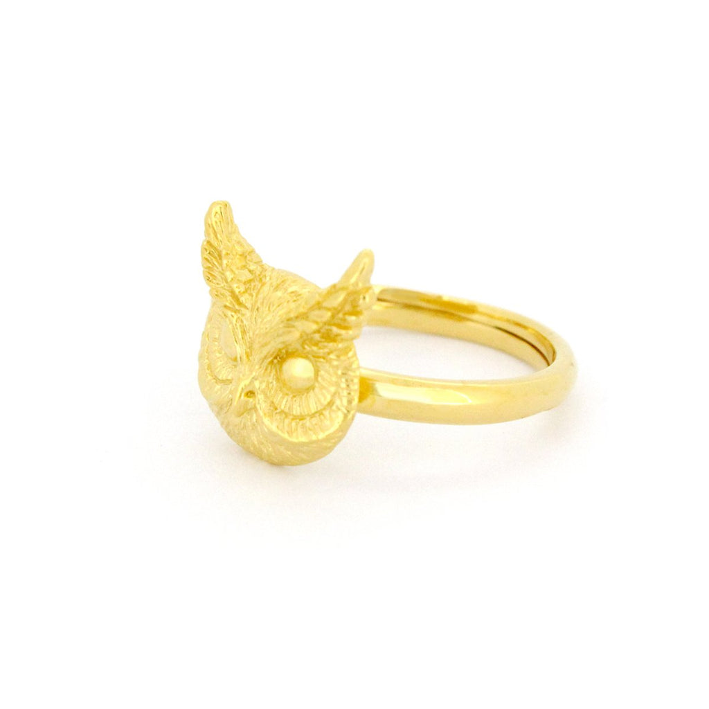 Merry Great Horn Owl Ring 925 Sterling Silver