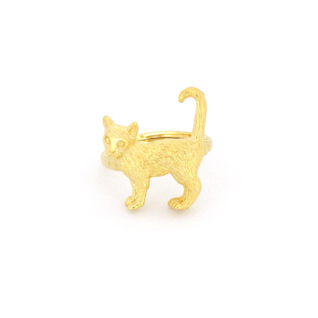Murmur Standing Cat Ring 925 Sterling Silver