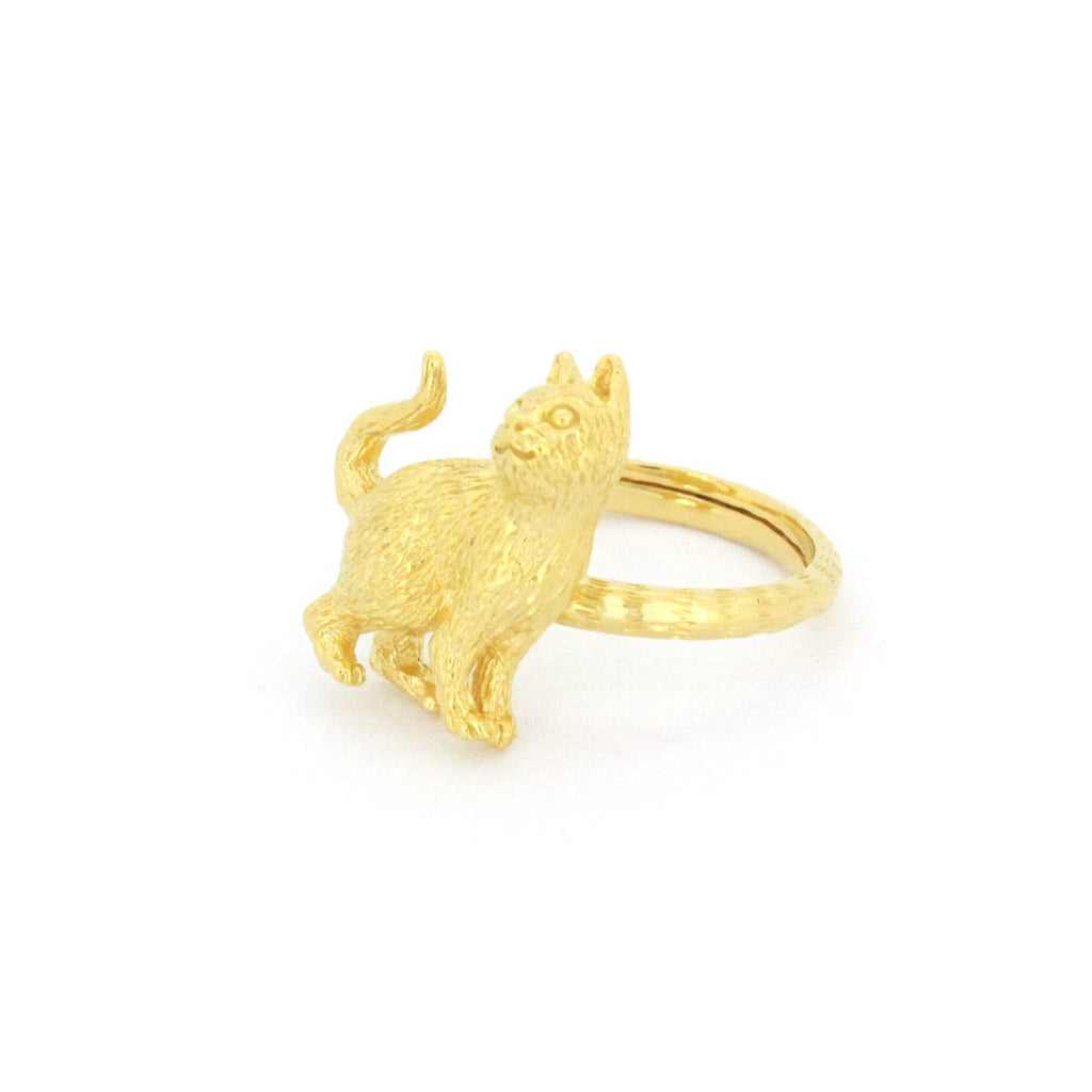 Murmur Stand Up Cat Ring 925 Sterling Silver
