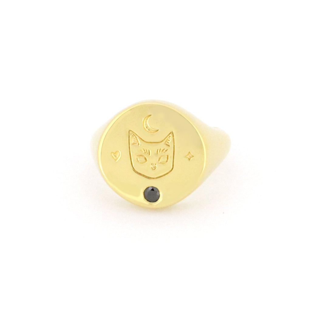 Murmur Cat Face Round Signet Ring 925 Sterling Silver
