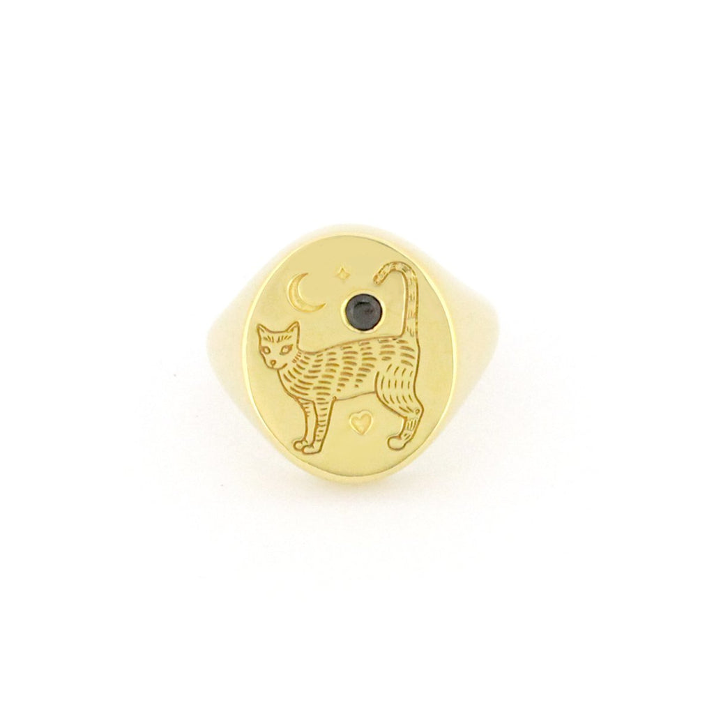 Murmur Cat Standing Oval Signet Ring 925 Sterling Silver