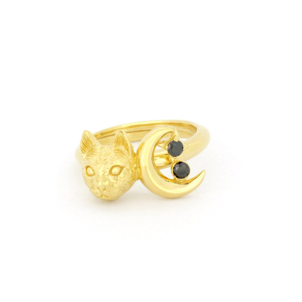 Murmur Cat Moon Ring 925 Sterling Silver