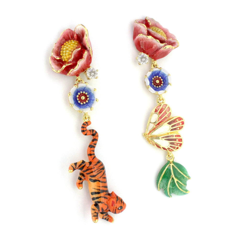 Orient Romance Tiger Butterfly Earrings