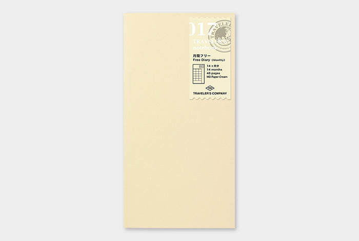 Midori Traveler's Notebook Refill Planeador Mensual Regular 017