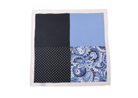 BLUE FOUR CORNER POCKET SQUARE