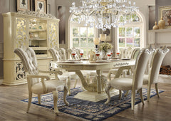 Homey Design HD-27 Dining Table Set 6 Chairs + China