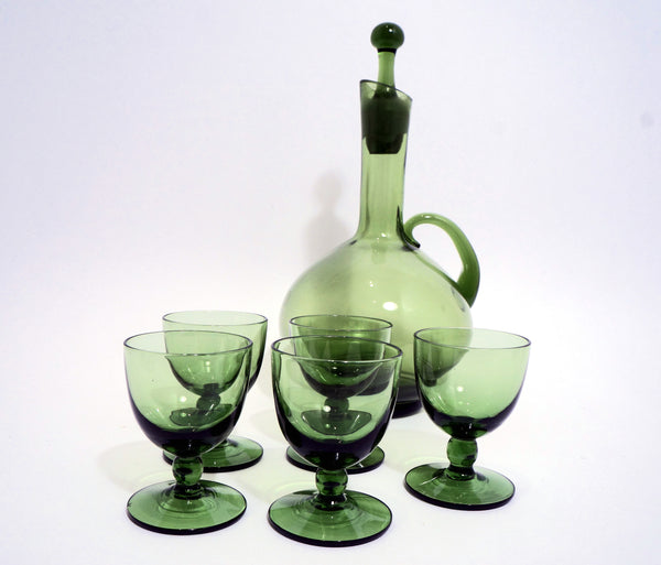 Green Glass Mini Decanter and Aperitive Glass set