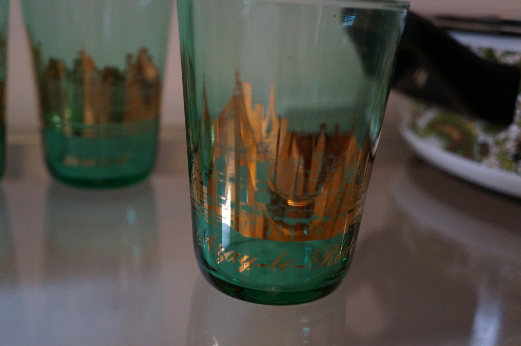 Gold and green chaumont tumblers (2)