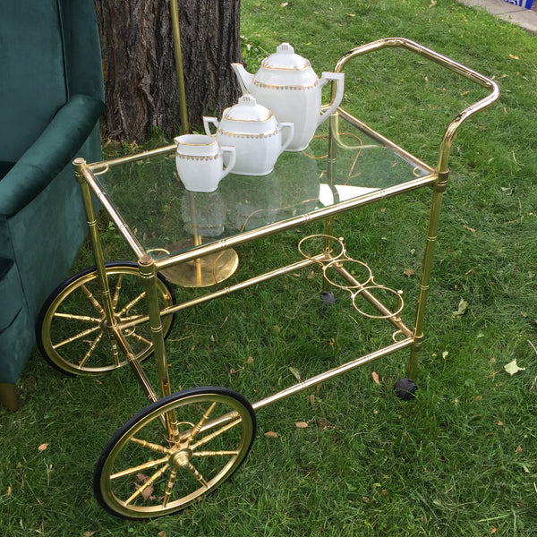 Brass Bamboo Bar Cart