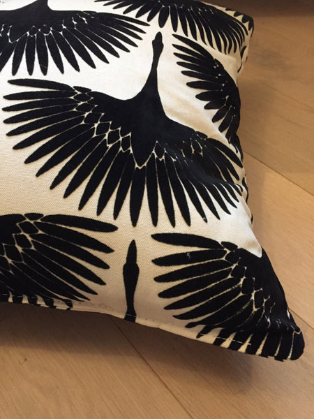 Flying cranes throw pillow