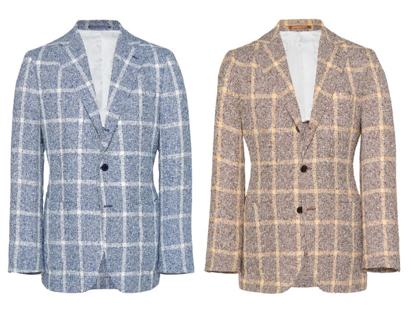 Motoluxe Linen Bouclé with Windowpane Check Blazer