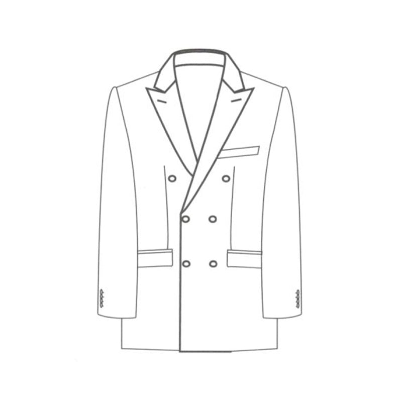 Double breasted 2x3 button jacket peak lapel