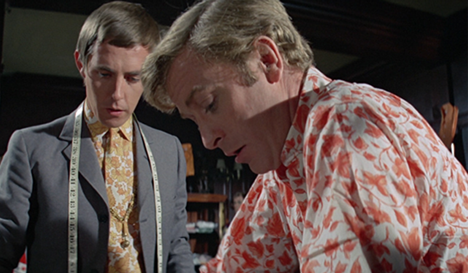 Michael Caine in a scene from The Italian Job inspired by the Mr Fish boutique (1969)