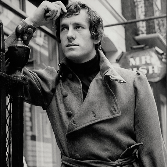 Michael Fish outside the Mr Fish boutique on Clifford Street, Mayfair (1968)