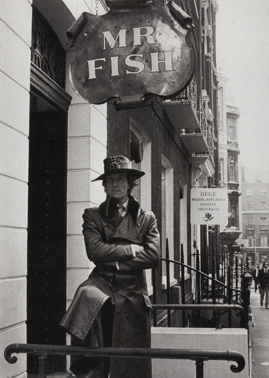 Michael Fish outside the Mr Fish boutique on Clifford Street, Mayfair (1969)