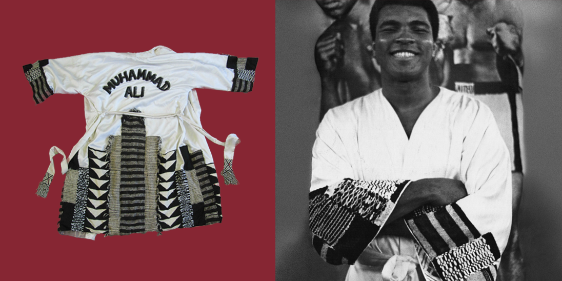 Muhammad Ali boxing robe designed by Mr Fish for the Rumble in the Jungle