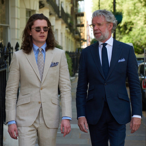 David Mason and Elliot Mason in Mason & Sons Conduit Cut Linen Suits Montagu Square London Savile Row Designer Tailor
