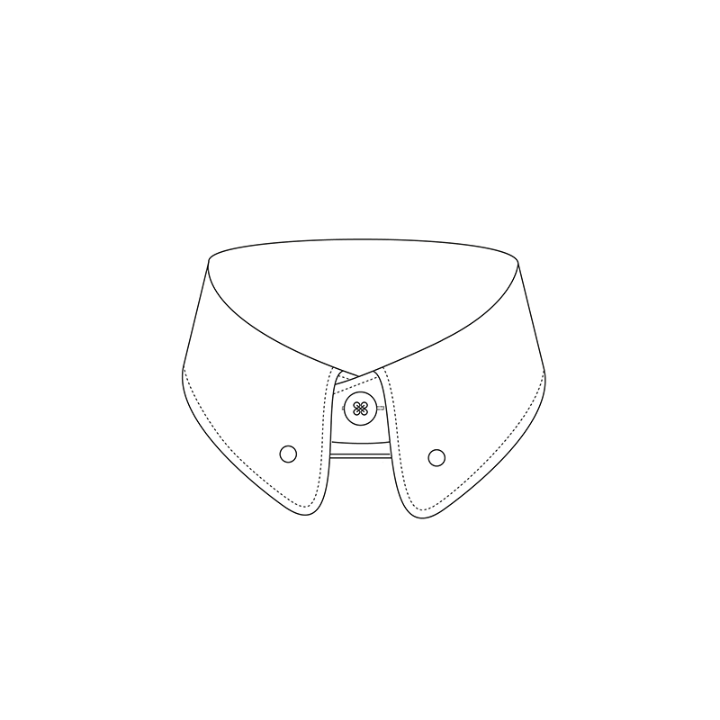 Rounded pin 1817 6cm shirt collar