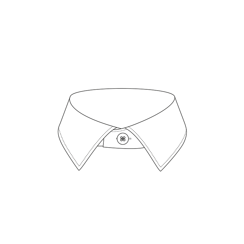 Semi cutaway shallow 1900 6.5cm shirt collar
