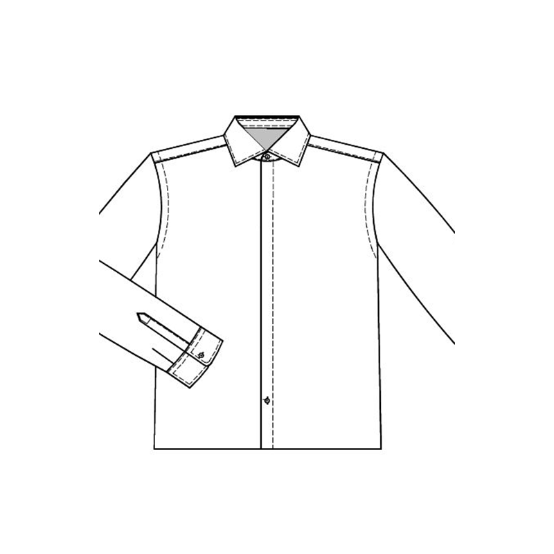 Shirt front placket concealed buttons D