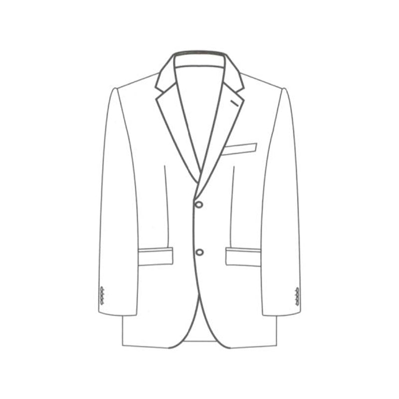 Single breasted 2 button jacket notch lapel