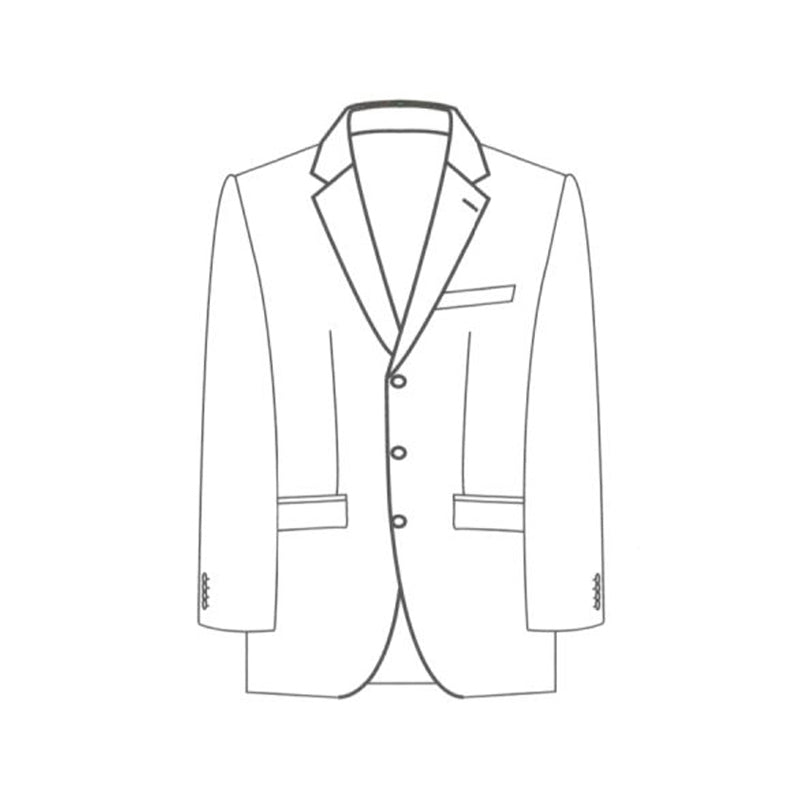 Single breasted 3 button jacket notch lapel