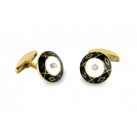 18ct Yellow Gold Mother-Of-Pearl And Diamond Cufflinks