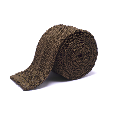 Anthony Sinclair Knitted Necktie In Mid Brown