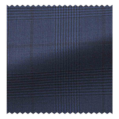 Four Seasons (130'S) Mid Grey Glen Plaid with Blue Overcheck