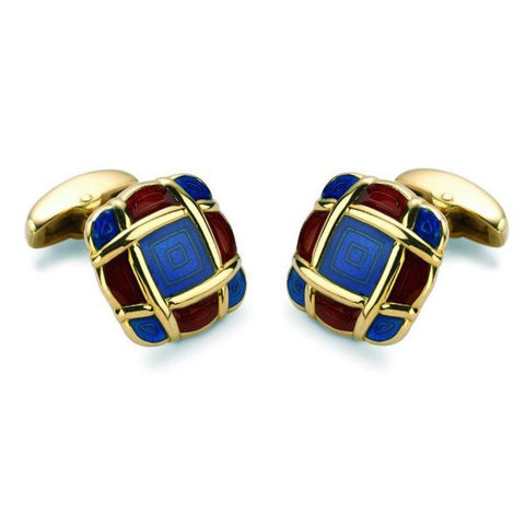 18ct Gold Cushion Style Enamel Cufflinks