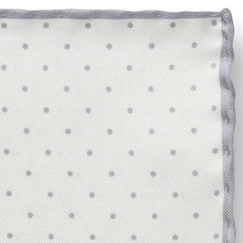 Personalised Silk Pocket Square in White with Light Grey Polka Dot