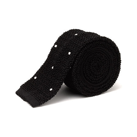 Knitted Necktie with Handsewn Spots