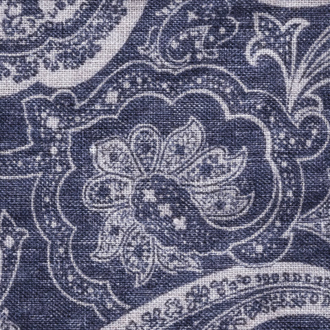 Personalised Cotton & Silk Pocket Square in Blue Light Grey Linen Paisley