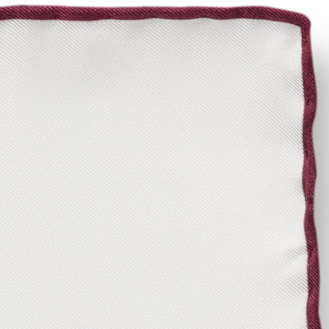 Personalised Silk Pocket Square in White with Wine Red Edge