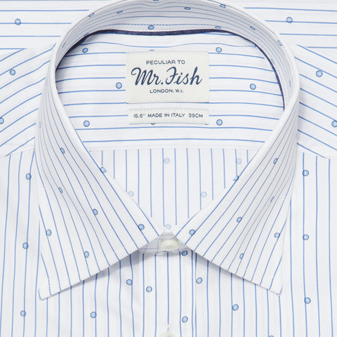 Sample Blue and White Spotted Pinstripe Shirt
