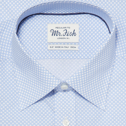 Sample Blue and White Reverse Polka Dot Shirt