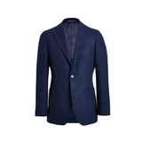 Mason & Sons | Motoluxe Unstructured Alpaca Blazer in Navy Melange - 1