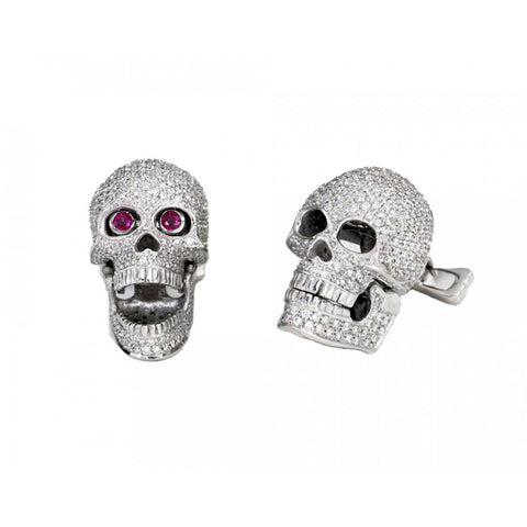 18ct White Gold Pave Diamond Skull Cufflinks With Ruby Eyes