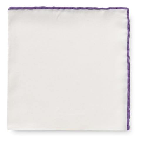 Personalised Silk Pocket Square in White with Purple Edge