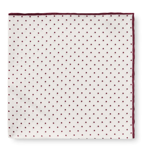 Personalised Silk Pocket Square in White with Wine Red Polka Dot