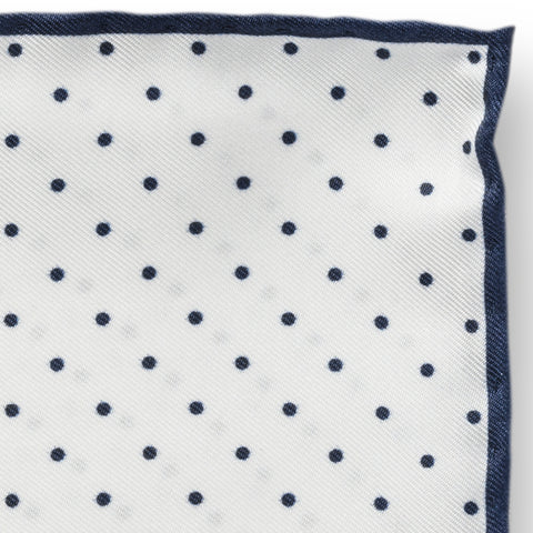 Personalised Silk Pocket Square in White with Navy Polka Dot