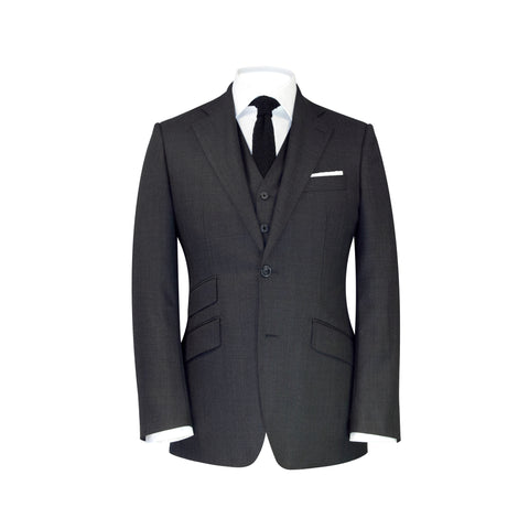 Conduit Cut 3 Piece Suit Charcoal Sharkskin