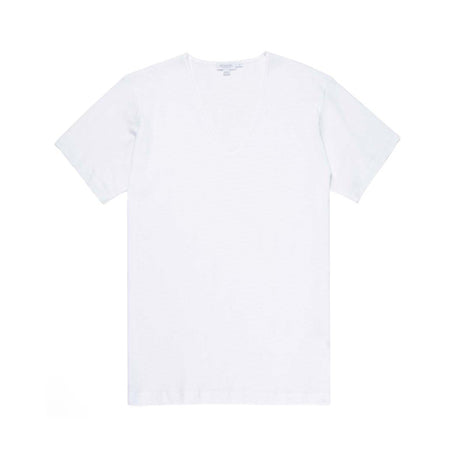 Cellular Cotton Low V-Neck T-Shirt