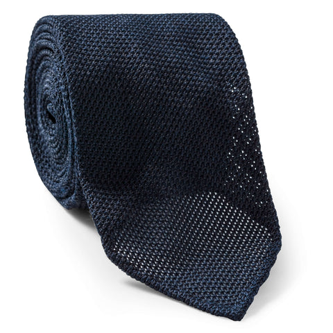Made To Order Grenadine Tie in Midnight Blue
