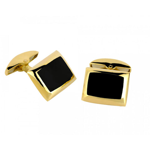 18ct Gold Cushion Cufflinks With Onyx